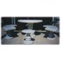VG3, VG4, VG5 - miza: v 74, Ø 110 cm, 190 kg, klop: v 45, 140 x 57 cm, 150 kg, stol: v 44, Ø 42 cm, 46 kg